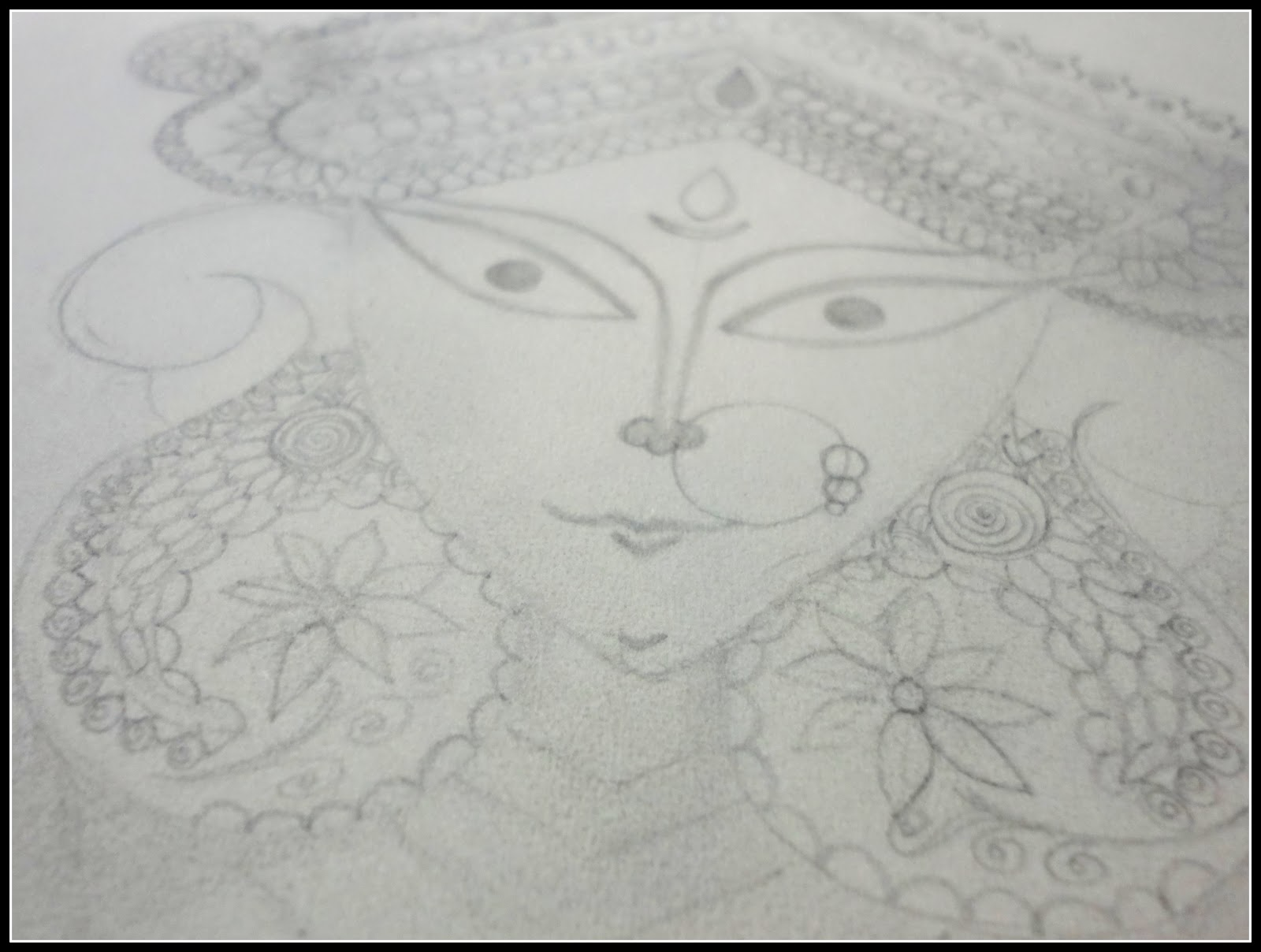 I started with a pencil sketch this sketch has a lot of detailing the intricate work on mukut and jewellery took sometime the expression in the eyes of